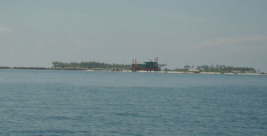 Seaventures Dive Resort with Mabul Island in the backgraound
