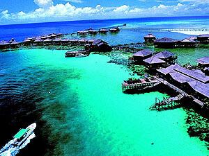 Aerial View of Sipadan Water Village Resort