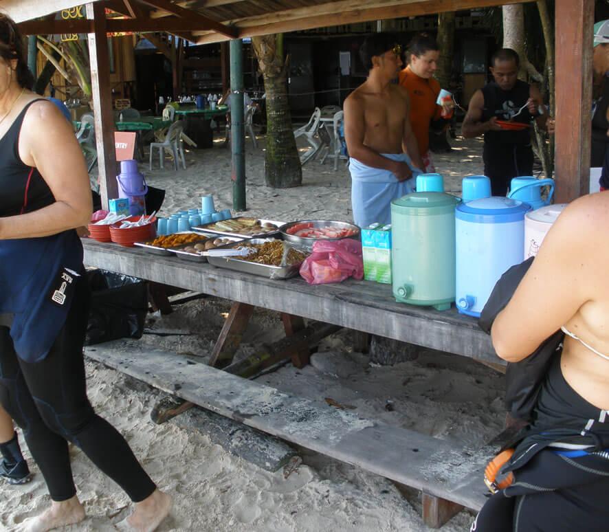Breakfast on Sipadan Island with the team from Kapalai Resort