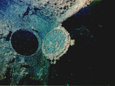 Bronze portholes on the Australian Wreck of the Cement Wreck