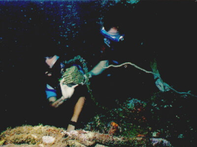 Divers exploring the American Wreck