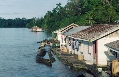 Floating Houses on Mahakam River near Melak