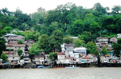 Houses on the Mahakam River near Samarinda