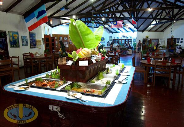 Restaurant Buffet at Borneo Divers Mabul Resort