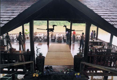 Sundeck Restaurant overlooking the Kinabatangan at Sukau Rainforest Lodge