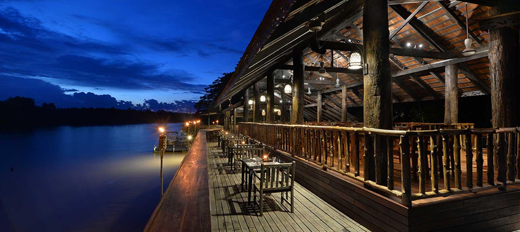 Melapi Jetty and Restaurant at Sukau Rainforest Lodge on the Kinabatangan River, Sabah