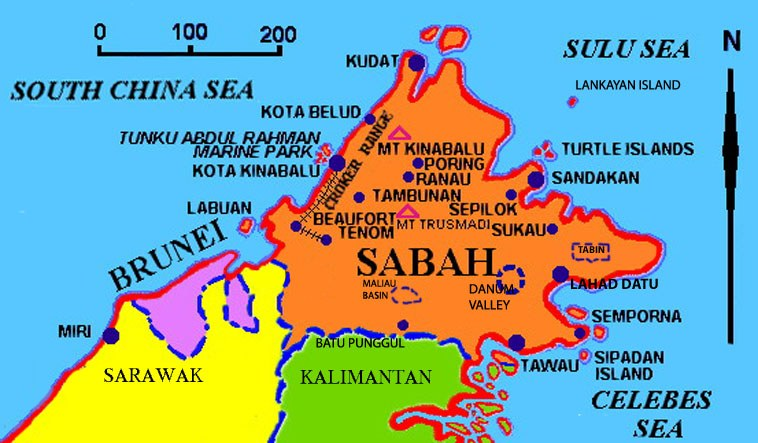 Map for your Sabah tours and Sabah Accommodation destinations