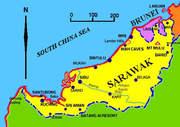 Map for your Sarawak tours and Sarawak Accommodation destinations